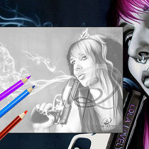 Lola Lovely / Greyscale-Coloring Page / Gothic Fantasy von Sarah Richter