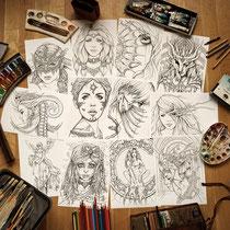 Print Set / 12 coloring pages Gothic Fantasy / Größe A4 von Sarah Richter