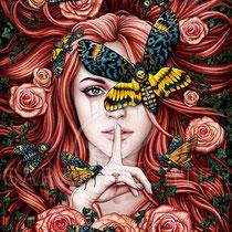"Gothic Fantasy Illustration "" Lady Moth "" art for licensing  / licensing artist"