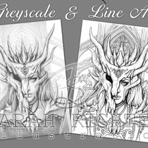 Dragon Mask / Greyscale & Line Art Coloring Page Pack / Gothic Fantasy von Sarah Richter