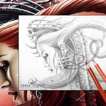 Queen Evil / Greyscale-Coloring Page / Gothic Fantasy von Sarah Richter