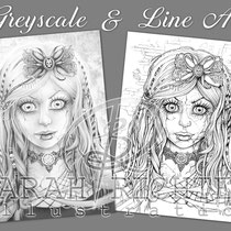 Gothic Doll / Greyscale & Line Art Coloring Page Pack / Gothic Fantasy von Sarah Richter