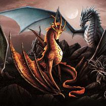 """Das Banner zum Buchcover """" Drachenmond """" von Sky Landis erschienen im Latos Verlag"""