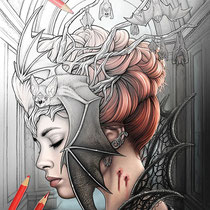 Queen of the night I / Coloring Page - Gothic Fantasy von Sarah Richter
