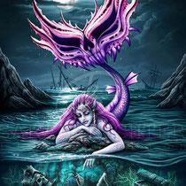 "Gothic Fantasy Illustration "" Davy Jones' Locker "" art for licensing  / licensing artist"