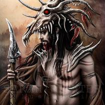 """Gothic Fantasy Illustration """" The Hunter """" art for licensing  / licensing artist"""