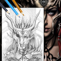 Dragon Mask / Greyscale-Coloring Page / Gothic Fantasy von Sarah Richter