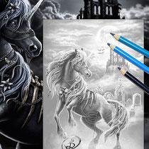 Dark Unicorn II / Greyscale Coloring Page - Gothic Fantasy von Sarah Richter