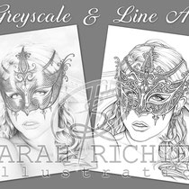 Venice / Greyscale & Line Art Coloring Page Pack / Gothic Fantasy von Sarah Richter