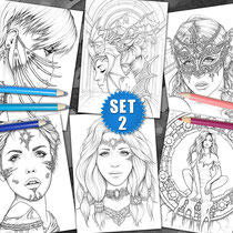 6 Coloring Pages - Gothic & Fantasy Pack II von Sarah Richter