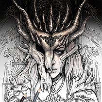Dragon Mask / Coloring Page - Gothic Fantasy von Sarah Richter