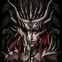 "Gothic Fantasy Illustration "" Dragon Mask "" art for licensing  / licensing artist"