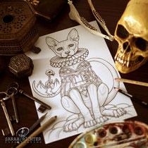 Sphynx/ Fantasy Coloring Page / Gothic Fantasy von Sarah Richter