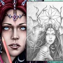 Dreamcatcher / Greyscale-Coloring Page / Gothic Fantasy von Sarah Richter