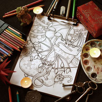 Christmas Dragons / Fantasy Dragon Coloring Page / Gothic Fantasy von Sarah Richter