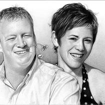 Portraitzeichnung eines Paares  mit Bleistift