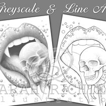 Deadly Sweet / Greyscale & Line Art Coloring Page Pack / Gothic Fantasy von Sarah Richter