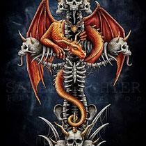 """Gothic Fantasy Illustration """" Dragons' Cross """" art for licensing  / licensing artist"""