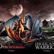 """Das Banner zum Buchcover """" Drachenmond """" und """"Highland Warrior"""" erschienen im Latos Verlag"""
