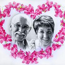 Portraitzeichnung von den Großeltern mit einem Herz aus Orchideen
