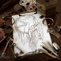 Aerial Angel / Fantasy Coloring Page / Gothic Fantasy von Sarah Richter