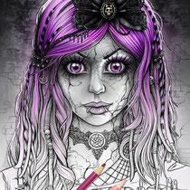 Gothic Doll / Coloring Page - Gothic Fantasy von Sarah Richter