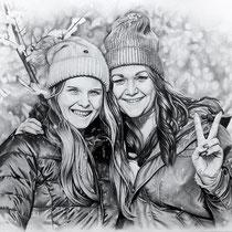 Portraitzeichnung von Freunden  mit Bleistift