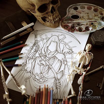 Reaper`s Cats / Fantasy Coloring Page / Gothic Fantasy von Sarah Richter