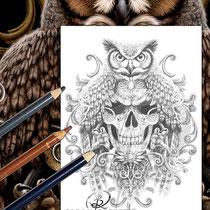 Death Wisdom / Greyscale-Coloring Page / Gothic Fantasy von Sarah Richter