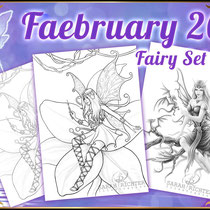 "Faebruary2020 ""Elvina"" & ""Dragon Keeper"" Coloring Set - Gothic Fantasy von Sarah Richter"