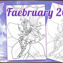 "Faebruary2020 ""Elvina"" Coloring Page - Gothic Fantasy von Sarah Richter"