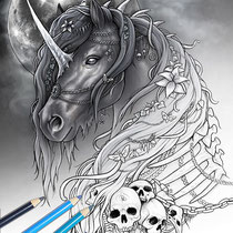 Dark Unicorn / Coloring Page - Gothic Fantasy von Sarah Richter