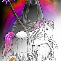 Metallicorn / Coloring Page Gothic Fantasy von Sarah Richter