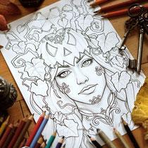 The Pumpkin Girl / Halloween Coloring Page / Gothic Fantasy von Sarah Richter