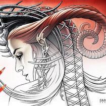 Queen Evil / Coloring Page - Gothic Fantasy von Sarah Richter