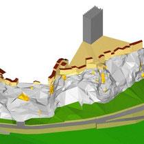 Consolidamento costone roccioso del centro abitato in Motta Sant'Anastasia - Rendering rilievo costone roccioso