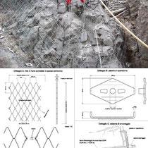 Consolidamento costone roccioso del centro abitato in Motta Sant'Anastasia - Particolare intervento ancoraggio