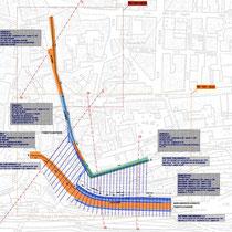 Consolidamento zona centro abitato in San Piero Patti - Planimetria opere di contenimento e drenaggio