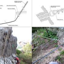 Consolidamento costone roccioso del centro abitato in Motta Sant'Anastasia - Particolari intervento imbracatura massi instabili