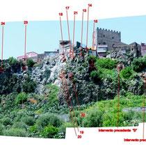 Consolidamento costone roccioso del centro abitato in Motta Sant'Anastasia - Panoramica con localizzazione massi instabili