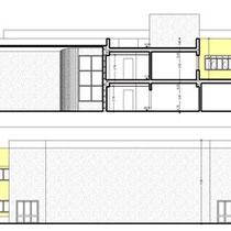 Scuola Media E. Medi di Castelvetrano - Prospetto e sezione