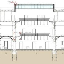 Palazzo Municipale di Santa Caterina Vill.sa - Sezione longitudinale