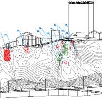 Consolidamento costone roccioso del centro abitato in Motta Sant'Anastasia - Prospetto con individuazione degli interventi