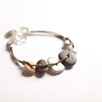 pebbles bracelet - mix of pebbles and silver casted pebbles