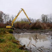 November 2020: Der riesige Moorbagger beginnt seine Arbeit