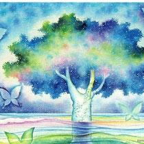 星のふる木 (水彩・2009制作)