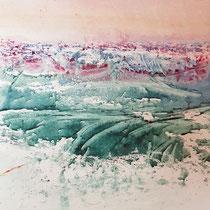 La vague - 20x20 cm - gouache sur papier - réservé