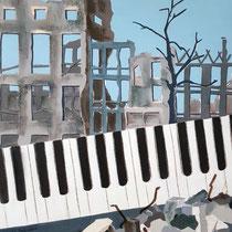 Le pianiste - 60x73 cm - (inspiration film Roman Polanski) - acrylique - 400 €