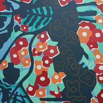 Flowers - 80x80 cm - acrylique - indisponible