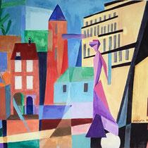 La dame de la Porte d'Amont (inspiration Feininger) - 65x54 cm - acrylique/pastel sec - réservé